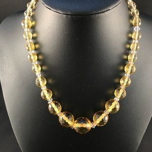 Vintage yellow crystal faceted bead necklace